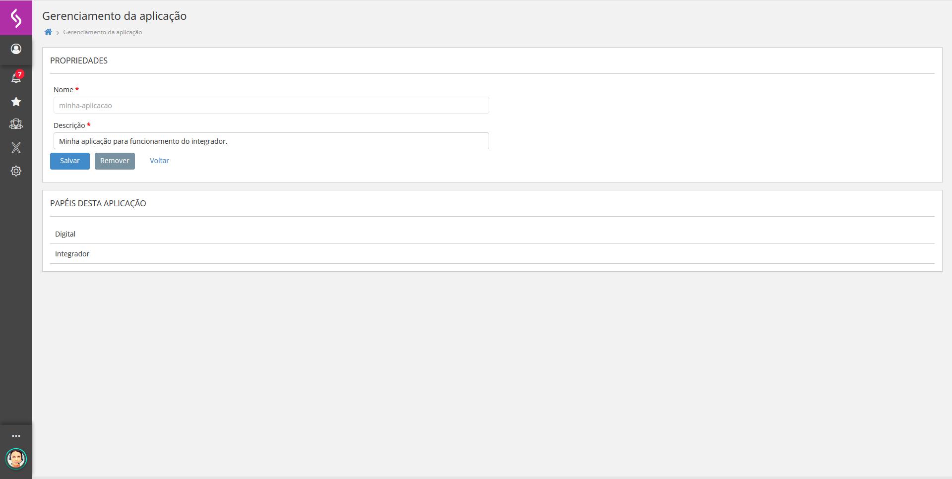 Imagem mostrando a plataforma x aberta com o cadastro de uma aplicação.