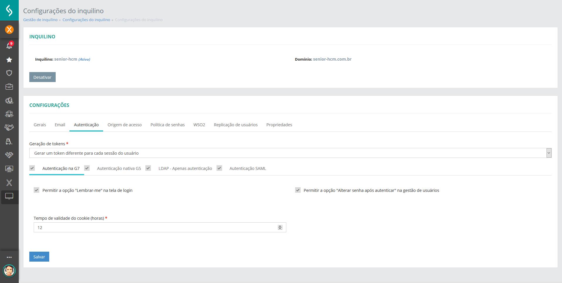 Imagem da plataforma senior x exibindo a tela de configuração de tenant.