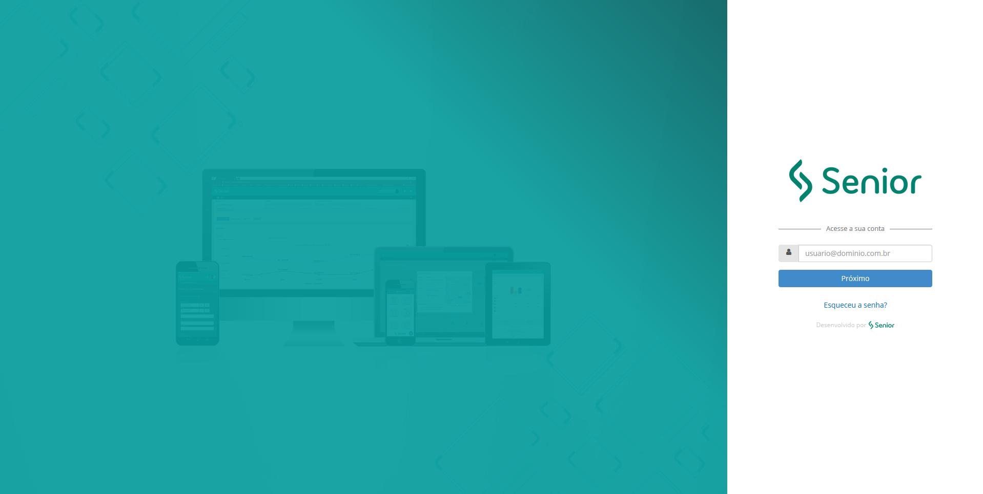 Imagem com tela de login da senior-x-platform.
